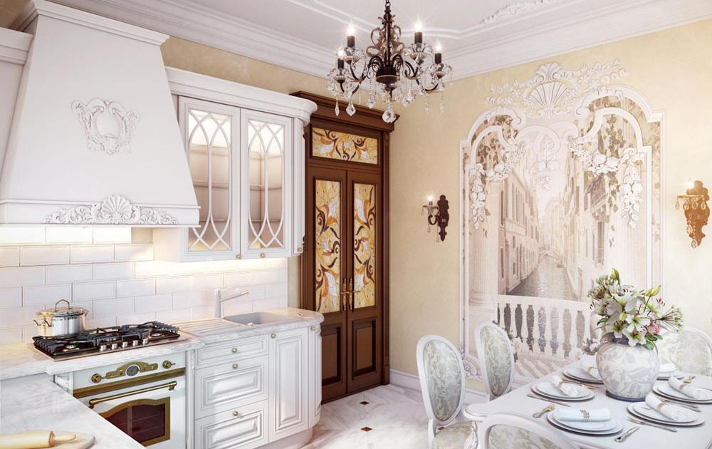 Дизайн кухни классика, белая кухня.