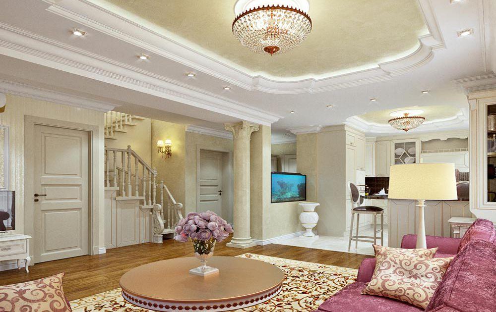 Дизайн гостиной в классическом стиле в Комфорт Таун