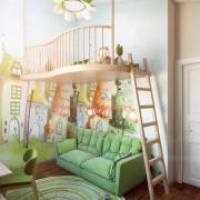 Двухэтажная детская в зеленом цвете