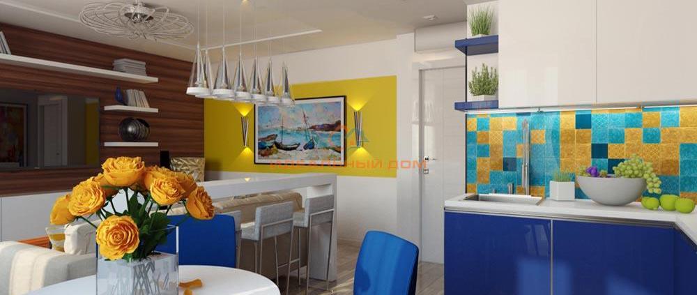 Гостиная студио желто-синяя