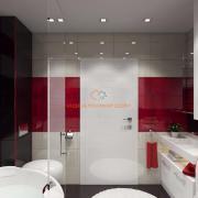 Дизайн ванной красно-белый