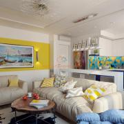 Дизайн гостиной студио желтый
