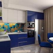 Дизайн кухни синий