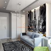 Подростковая комната в черно-белой гамме