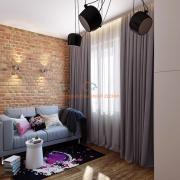 Кирпичная стена в интерьере комнаты