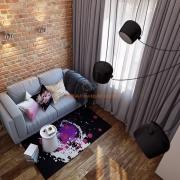 Серый диван и серые гардины