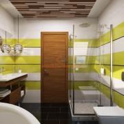 Вертикальные полосы в интерьере ванной