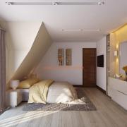 Кровать под наклонной стеной