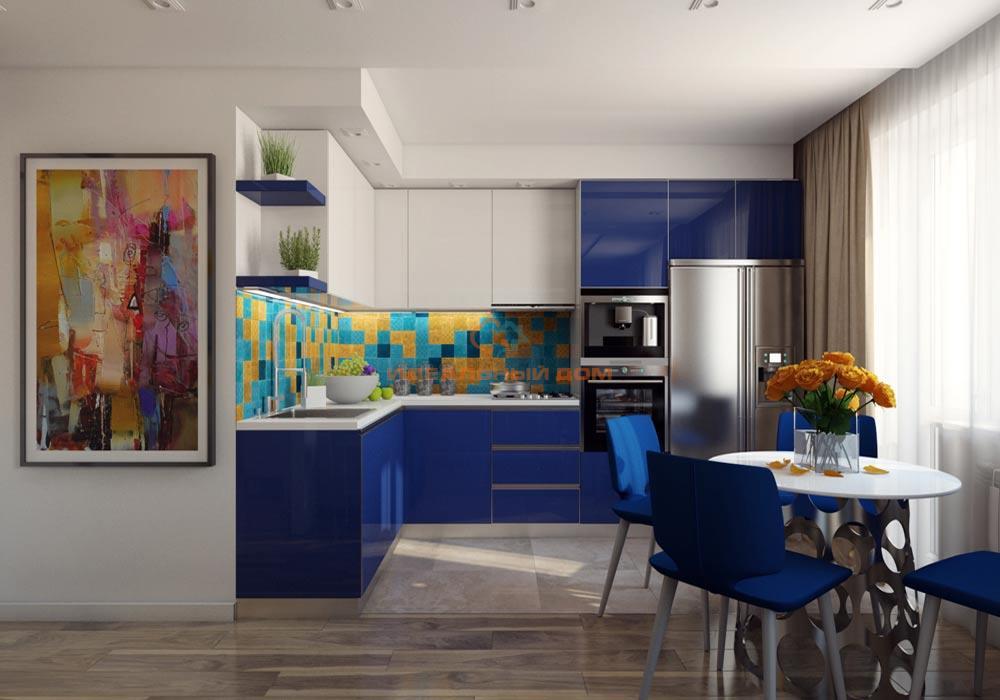 Дизайн интерьера с синей кухней