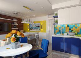 Дизайн студии в желто синем цвете Киев