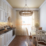 Белая кухня с фартуком из кирпича