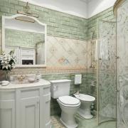 Ванная в серо-зеленом цвете