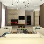 Гостиная с камином в минималистичном стиле