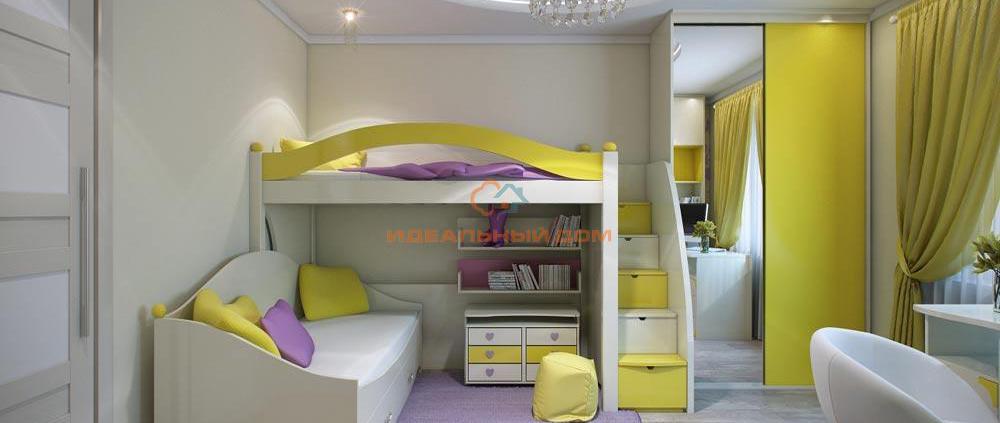 Детская в желто-сиреневом цвете