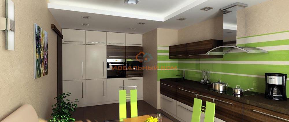 Интерьер кухни с салатовыми акцентами