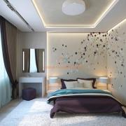 Кофейные тона и цветочный принт в интерьере спальни
