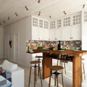 Кухня белая с деревом