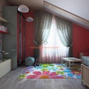 Сочетание серого с розовым в детской комнате
