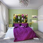 Спальня, сиреневый и фисташковый