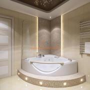 Угловая ванна на подиуме