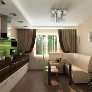 Уютная кухня в сливочно-шоколадном цвете