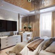 Интерьер спальни бежевый с золотом