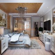 Интерьер спальни с золотом