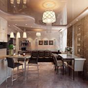 Классическая кухня с натяжным потолком