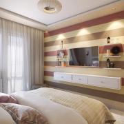 Полосы в инетерьере спальни