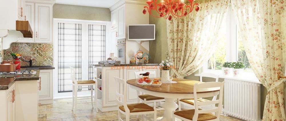 Просторная светлая кухня с белой мебелью