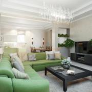 Дизайн гостиной студио в зеленоватых тонах