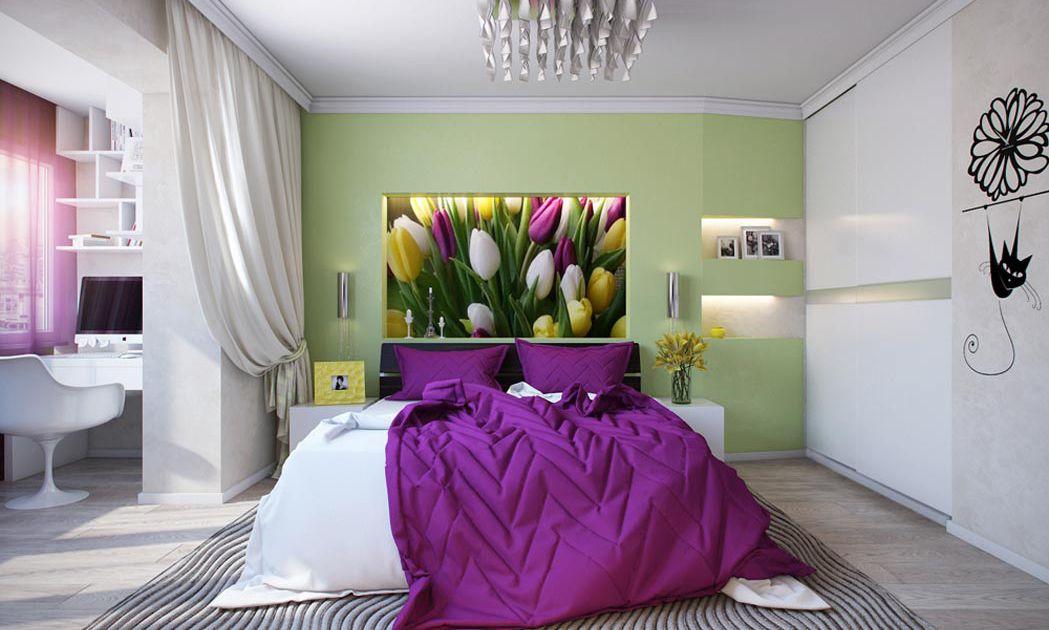 Дизайн спальни в нежных тонах с яркими акцентами. Рабочий уголок, устроенный в лоджии.