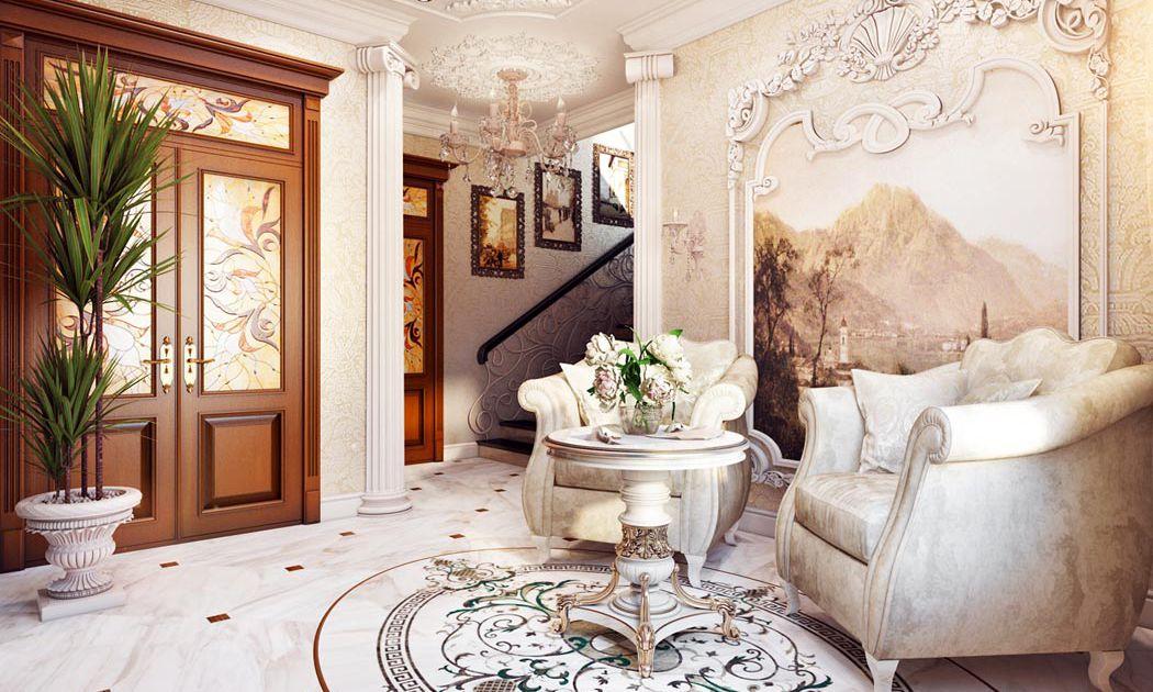 Изысканный дизайн холла в классическом стиле